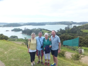 Here we all are on Waiheke Island (just after lunch).