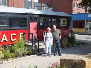 Katharine & Peter outside the diner